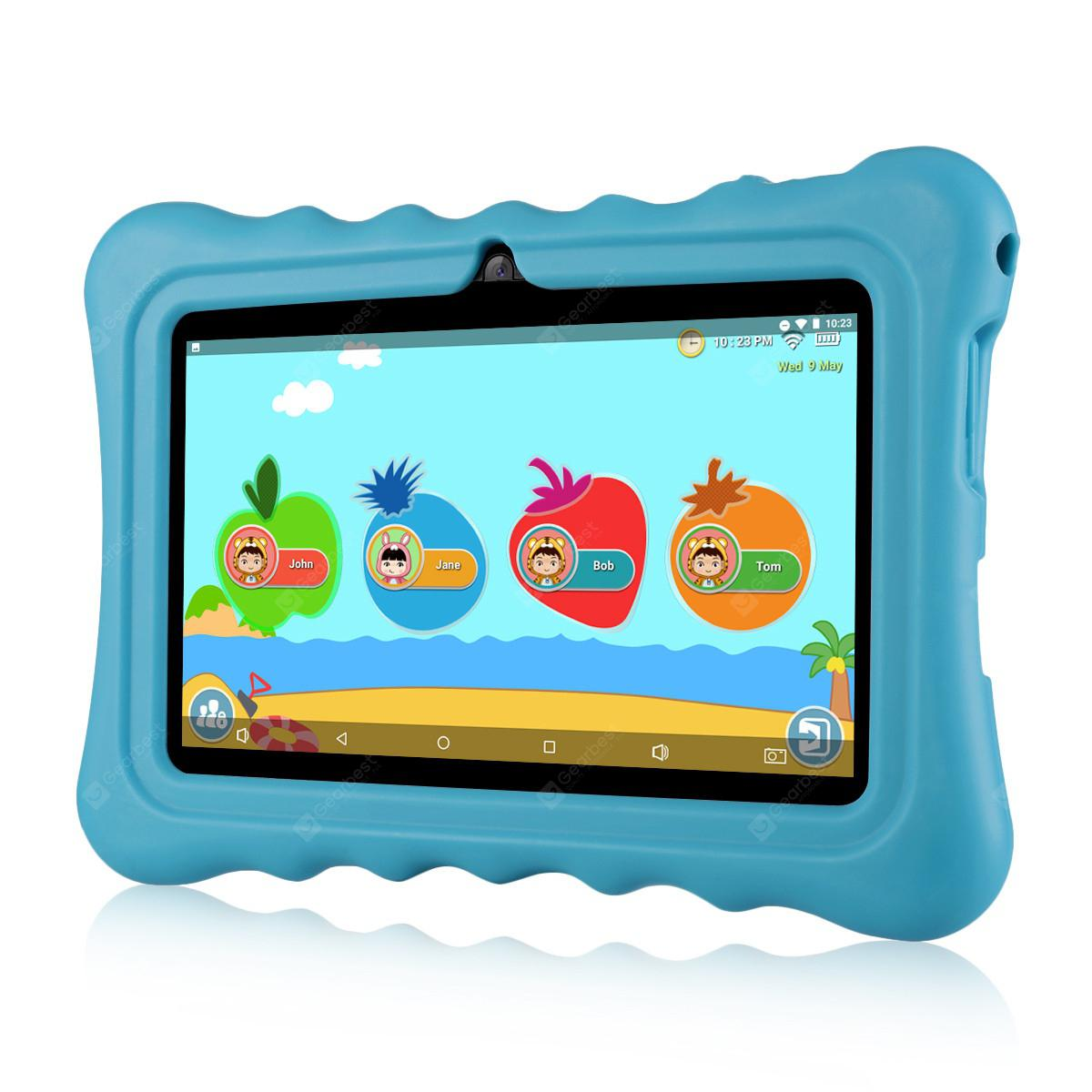 "Ainol Q88 Kids Android 7.1 OS Tablet 7"" Display 1G RAM 8 GB ROM Light Weight Portable Kid-Proof Shock-Proof Silicone Case Kickstand Available With iWawa For Kids Education Entertainment---Blue"
