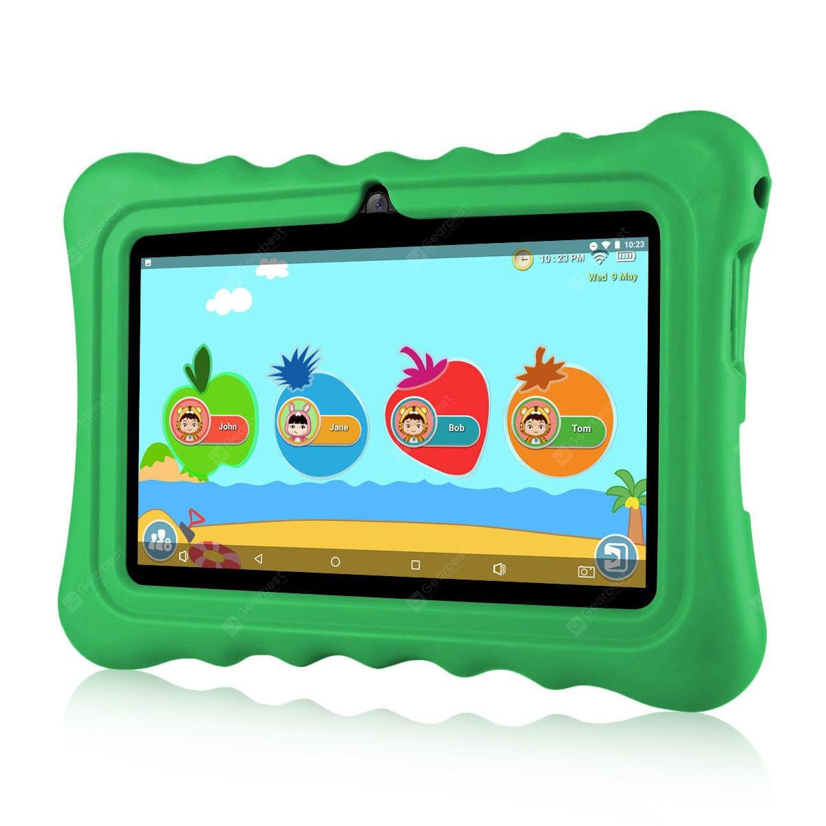 """Ainol Q88 Kids Android 7.1 OS Tablet 7"""" Display 1G RAM 8 GB ROM Light Weight Portable Kid-Proof Shock-Proof Silicone Case Kickstand Available With iWawa For Kids Education Entertainment---Green"""