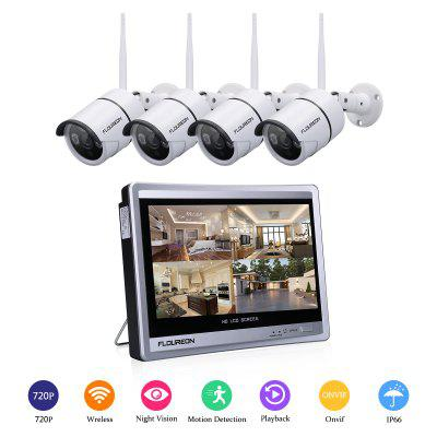 "FLOUREON 4CH 1080P WIFI NVR with 12"" LCD Monitor Wireless Security Camera System with 4 Wireless Waterproof 720P Indoor Outdoor 100ft Night Vision Video Surveillance Camera  UK"