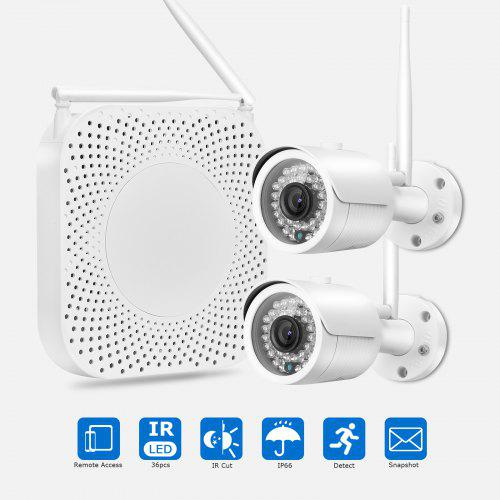 FLOUREON Camera Security System,4CH 1080P Wireless Network Video Recorder  NVR +2 x 720P 1 0MP Waterproof IP66 Bullet IP Camera Kit for Home Security