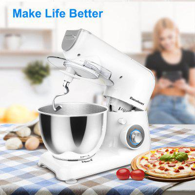 Excelvan 1000W Electric Food Stand Mixer with 4.0L Stainless Steel Bowl, Beater, Dough Hook, Whisk, Splash Guard, 5-Speed,  LED decoration, Foot with Strong Suction, White and Grey