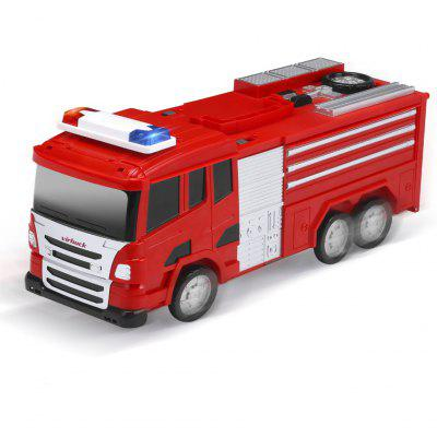 Virhuck transformed fir truck multi-functional parking DIY building car vehicle city track sets with fir truck lighting and sound two metal die-cast cars emission - RED