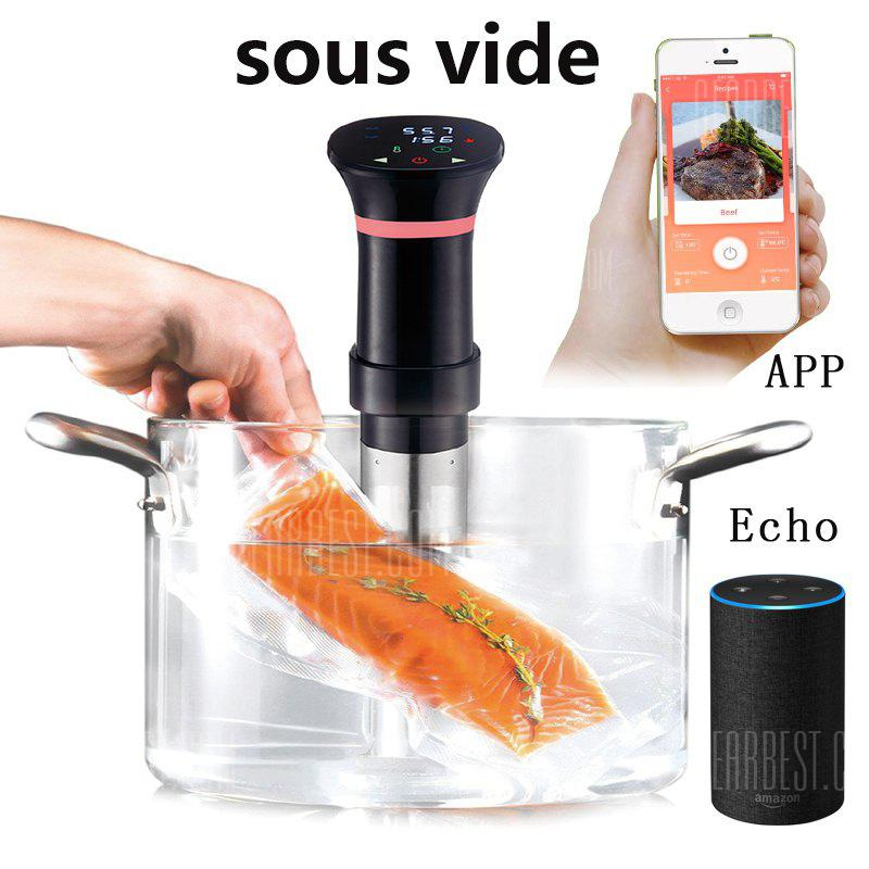 Sous Vide Stick Slow Cooker Water Immersion Thermal Circulator Temperature Control Stainless Steel Kitchen Appliance, supports Android and iOS - BLACK