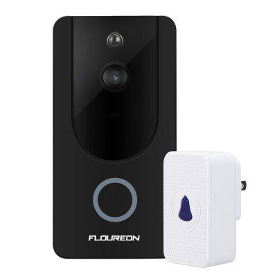 FLOUREON WiFi Wireless  Smart Video Doorbell720P HD Security Camera With Chime and Battery, Real-Time Video and Two-Way Talk, Night Vision, PIR Motion Detection UK