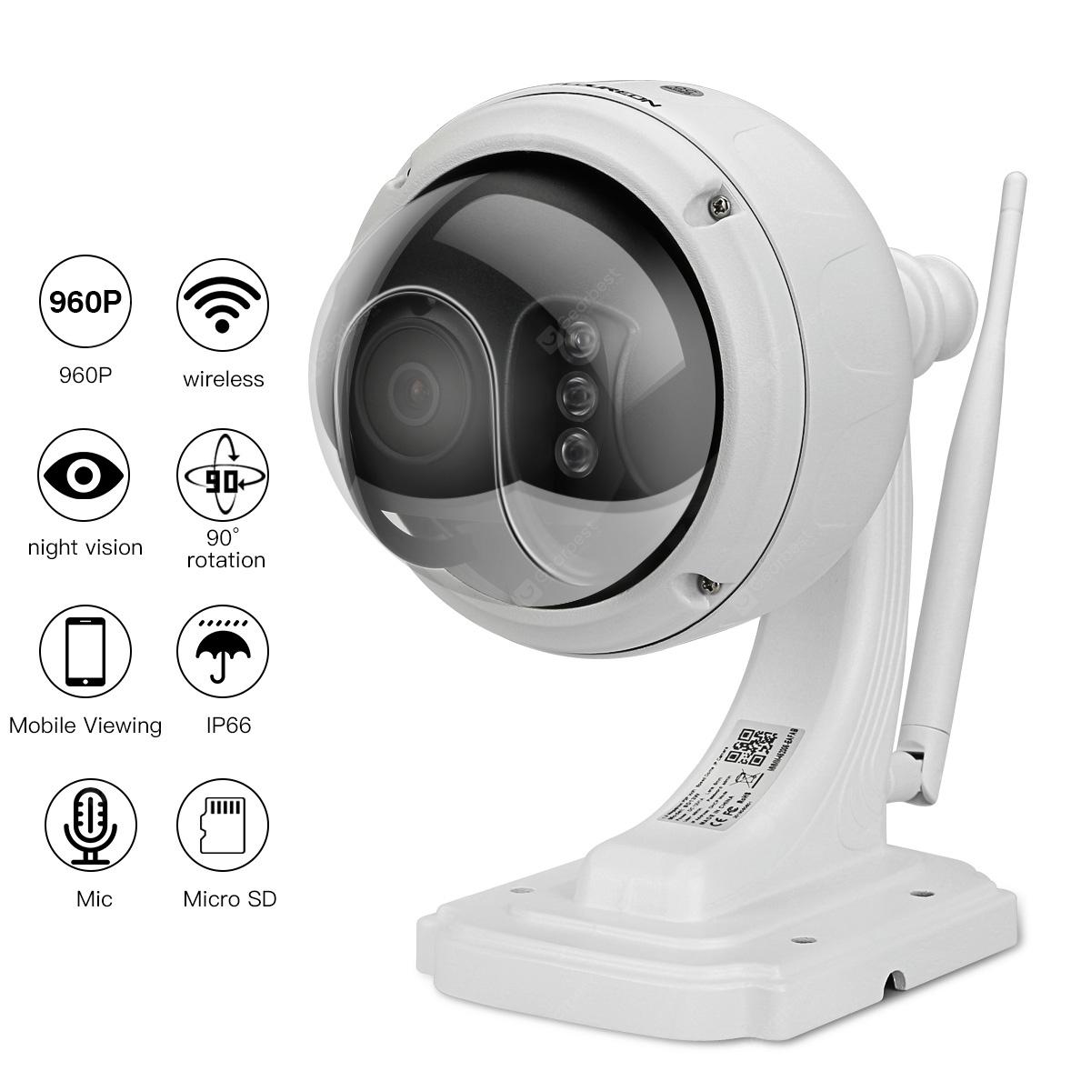 FLOUREON 1.3MP 960P 1280*960 Wifi H.264 Wireless CCTV Security TF Micro SD Card IR-CUT IP66 AP Mode Built-in Mic Dome PT IP Camera EU - WHITE