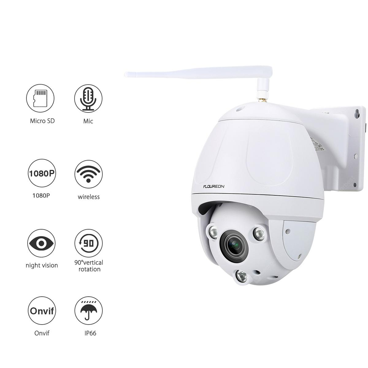 FLOUREON 1080P Wifi 2.7-13.5mm H.264 Wireless CCTV Security Pan/Tilt 5X ZOOM IR-CUT SD Card Slot PTZ Night Vision IP Camera EU - WHITE