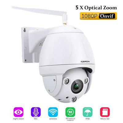 Gearbest FLOUREON 1080P Wifi 2.7-13.5mm H.264 Wireless CCTV Security Pan/Tilt 5X ZOOM IR-CUT SD Card Slot PTZ Night Vision IP Camera EU - WHITE