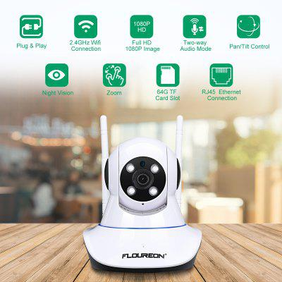 FLOUREON 1080P 2.0MP 1920*1080 Indoor IPC WIFI H.264 Wireless PT IR-CUT TF Micro SD Card Slot Nanny Baby Monitor IP Camera AU