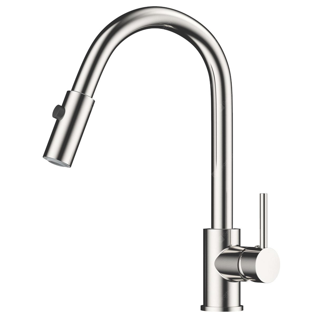 Rackaphile Single Handle Pull Down Sprayer Kitchen Faucet Tap With 360 Degree Swivel Br Spout One Hole Installation Hot And Cold Water Lead Free