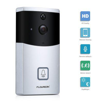 FLOUREON WIFI Video Doorbell, Smart Doorbell 720P HD Security Camera With micro SD slot, Real-Time Two-Way Talk and Video, Night Vision, PIR Motion Detection and App Control for IOS and Android
