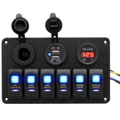 Excelvan Multi-function 5PIN Dual Lamp 6-position Switch Panel