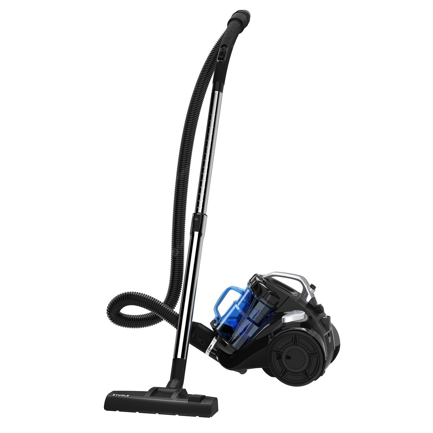 Eyugle VC-1409 Kanister Vacuum Cleaner BAGLESS Berkord Ringan Upright Vacuum Pilih Suction 15Kpa HEPA untuk Binatang bulu Carpet Floor Hard - EU BLACK