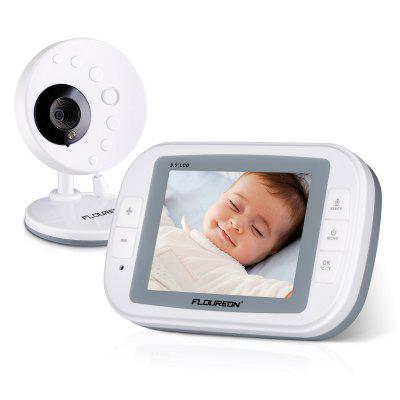 FLOUREON 3.5 Inch Digital Wireless 2.4 GHz Kids Baby Monitor LCD Video Nanny Security Camera Temperature Display 2 Way Talk Night Vision Lullabies Temperature Detection Talk-back Intercom Radio EU