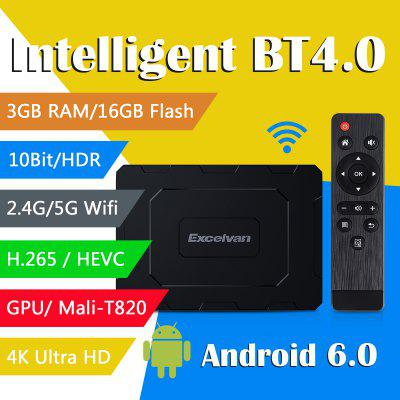 Excelvan EX - T2 Android 6.0 Octa Core Cortex - A53 Mali - T820 BT Dual-band WiFi TV BOX EU