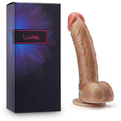 Luvkis Realistic 8 Inch Dual layer Liquid Silicone Bendable Penis with Suction Cup Sex Toys brown