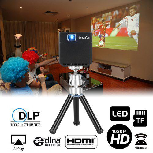 Exquizon S6 Mini Cube DLP Pocket Projector – Black EU Plug 213989704 1080P Supported Built-in WiFi HDMI Built-in 2500mAh Battery