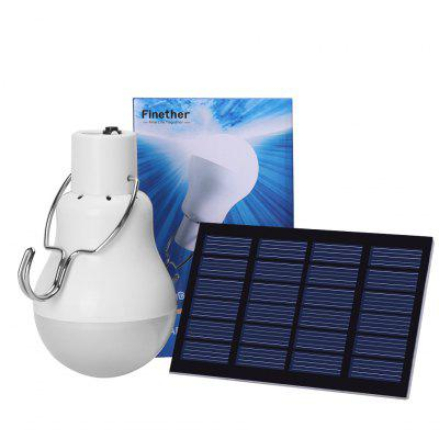 (SOLAR BULB)Finether 1.2 W Solar Powered Portable Bulb with Solar Panel, Detachable Cord and top hook for Indoor Home Warehouse Camping Commercial Use, White Glow