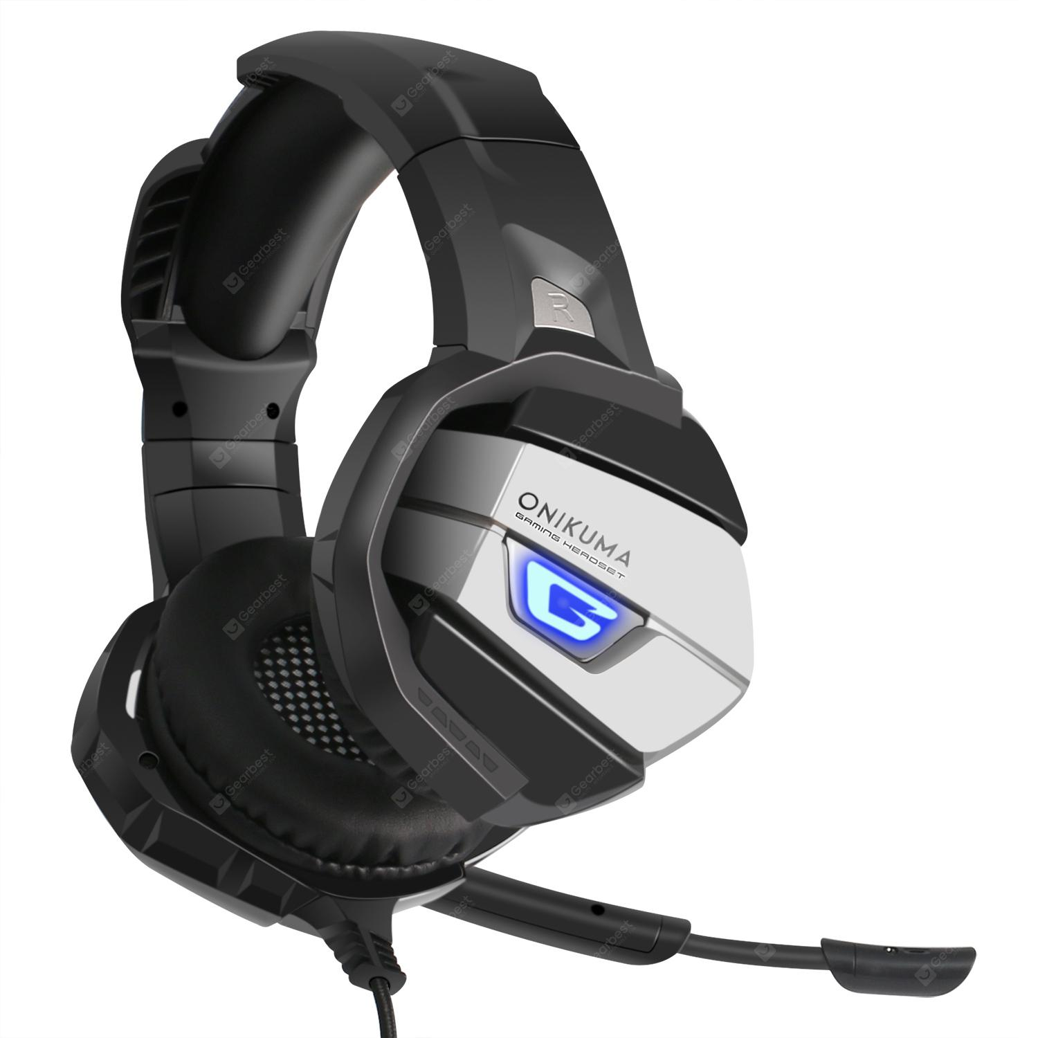 ONIKUMA K5 Stereo Gaming Headset for PS4, PC, Xbox One Controller Over Ear  Headphones with Mic, LED Light, Bass Surround