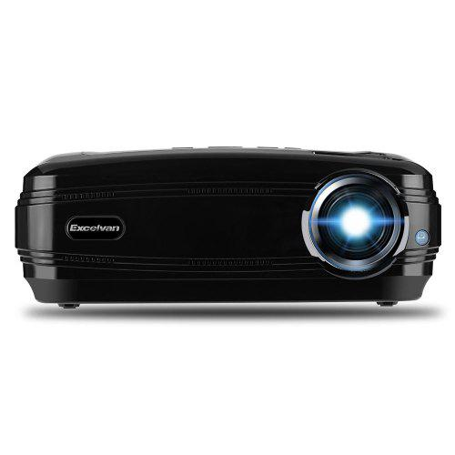 Gearbest Excelvan BL - 59 HD Multimedia Projector - BLACK EU 1080P Support 1GB + 8GB Android 6.0.1 Red Blue 3D WiFi Bluetooth 200 Inches Projection Size