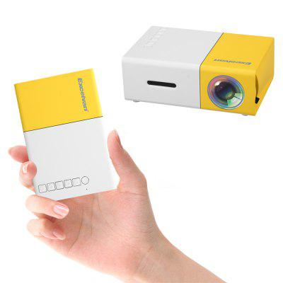 Gearbest Excelvan YG300 Home Mini Projector - YELLOW WHITE EU PLUG 320 x 240P Support 1080P AV USB SD Card HDMI Interface