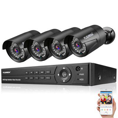 FLOUREON 1 X 8CH 1080P 1080N AHD DVR + 4 X Kit de Caméra de Sécurité en Plein Air 3000TVL 1080P 2,0MP EU NO HDD