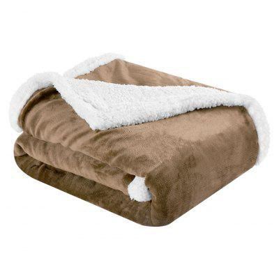 (BLANKET 2-SIDED BROWN)LANGRIA Reversible Flannel/Sherpa Throw Blanket Soft Cozy Warm Plush Fuzzy Easy Care Couch Sofa Bed Blankets, 60 x 80 Inches, Camel
