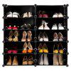 LANGRIA 10-Cube DIY  Modular Shoe Rack, Black and White Curly - NEGRO
