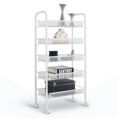 LANGRIA 5-tier Mesh Cart Space-saving Storage Rack for Kitchen Bathroom