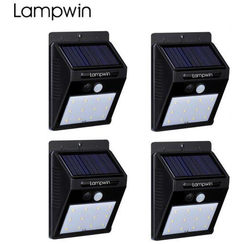 Gearbest Lampwin Waterproof Outdoor Motion Activated Security Lighting 12 LED Bright Solar Powered Light for Patio, Deck, Yard, Garden (4-pack) - BLACK