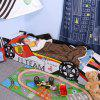 LANGRIA Racecar-Themed Toddler Bed (Red, White, Black) - BLACK
