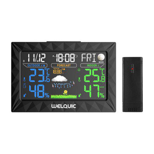 WELQUIC TS-Y01 LCD Display Wireless Barometer Temperature Humidity Tester Weather Forecaster EU
