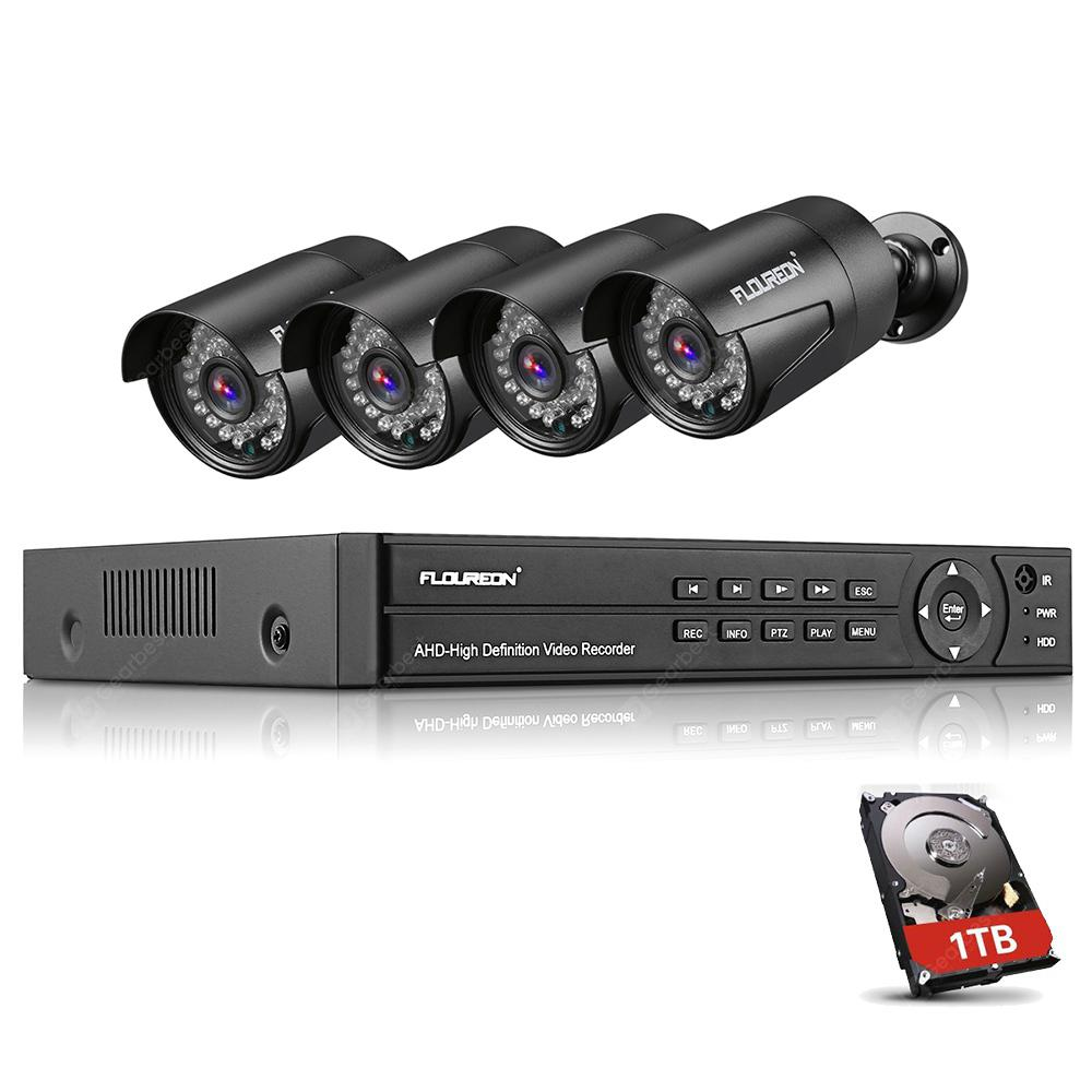 FLOUREON 1 x 8CH 1080P 1080N AHD DVR + 4 x Outdoor 3000TVL 1080P 2.0MP Camera + 1TB HDD Security Kit EU 5