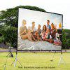 Excelvan 84 Inch 16:9 Collapsible White Portable Projector Cloth Screen With Hanging Hole For Home And Outdoor Use - BLACK WHITE