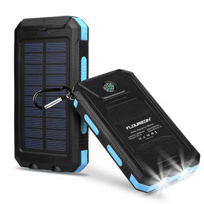 Floureon Solar Power Bank 10000mAh External Backup Battery Pack Dual USB Solar Panel Charger