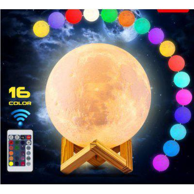 Creative Earth Lamp Dimmable Moon Lamp LED Table Lamp Night Light 3D Printing 16 Colors Remote Control