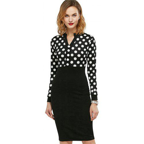 612973dfa05 Kenancy Womens Spring Autumn Polka Dot Elegant formal Patchwork Long Sleeve Dress  Office Charming Women Ruched Bodycon Shift Pencil Dress