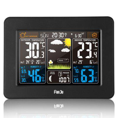 FanJu FJ3365 Multifunctional Wireless Weather Station Alarm Clock Color Display with Weather Forecast Temperature Humidity Barometer Moon Phase
