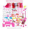 124PCS Doll Clothes and Accessories Set with Furniture Kitchen Supplies Cleaning Tools Party Dress Shoes DIY Stroller Walker for Baby Doll Girls Boys Birthday Gift - MULTI