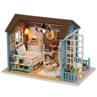 Doll Miniature Wooden House Studio Kit with LED Light Retro Furniture DIY Handcraft Toy