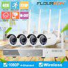 4CH Wireless CCTV 1080P DVR Kit Outdoor Wifi WLAN 1.3MP 960P IP Camera Security Video Recorder NVR System US - WARM WHITE