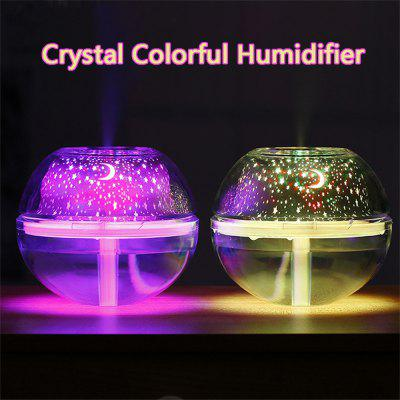 Large-Capacity USB Crystal Colorful Projection Night Light Air Purification LED Ultrasonic Oil Aroma Humidifier 500ml