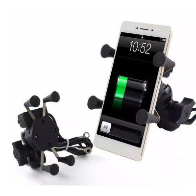"Motorcycle Mount Cell Phone Holder USB Charger with Anti-slip Pads Fit for 3.5"" ~ 6.0"" Cell Phones"