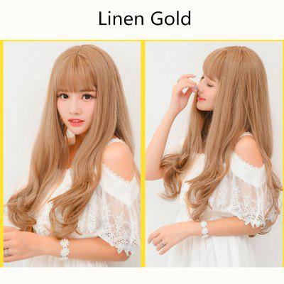 60 CM Fashion Ladies Cosplay Lolita Korea Style Sweet Cute Hair Heat Resistant Wig Thin Bang Fringe Curly Wave Wig Party