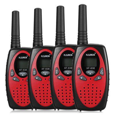 FLOUREON Canal de 8 canales 4 Walkie Talkies UHF400-470MHZ de 2 vías Radio Interfono de 3KM Interphone Rojo / Negro