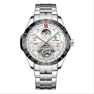 TEVISE T855 Quartz Stainless Steel Strap Waterproof Night-luminous Men Mechanical Watch with Date Function
