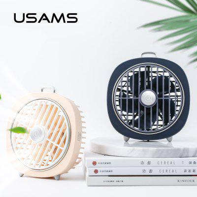 USAMS 2 in 1 Portable Rechargeable Mini USB Fan Led Night Light 3-Speed Desktop Desk Table Home Office Small Fan