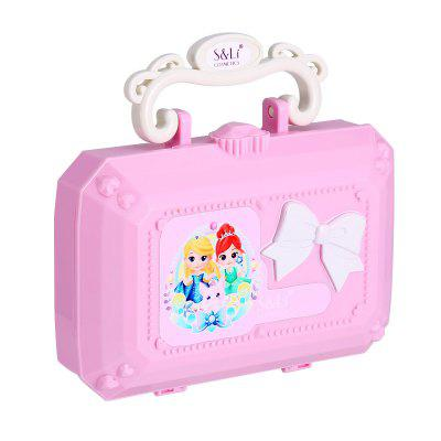Washable Cosmetics and Real Makeup Set for Little Girls with Mirror , Eye Shadow, Blush, Brushes, Lip Gloss, Lip Stick, Mini Box