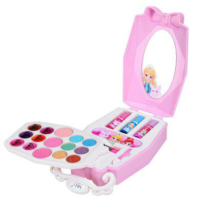 Washable Cosmetics and Real Makeup Set for Little Girls with Mirror Eye Shadow Blush Brushes Lip Gloss Fairy Tale World Beautiful Makeup Set