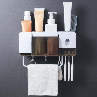 Toothbrush Holder Wall Mounted Multifunctional Bathroom Set Multifunctional with Bamboo Fiber Cups