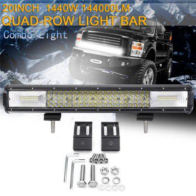 Quad Row Work Light Bar, LED 20 Inch 1440W LED 144000LM Spot Flood Combo Led Bar Lights Driving Fog Light For Jeep Boat 4WD Off-road SUV UTV ATV Car 10-30V 6000K Waterproof IP68